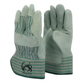Cowhide Green leather palm work glove