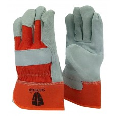 Cowhide Orange leather palm work glove