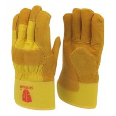 Cowhide Yellow leather palm work glove with insulation